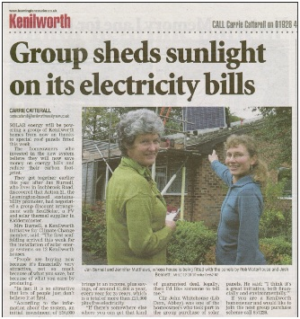 Joint installation in Kenilworth – featured in Leamington Courier.